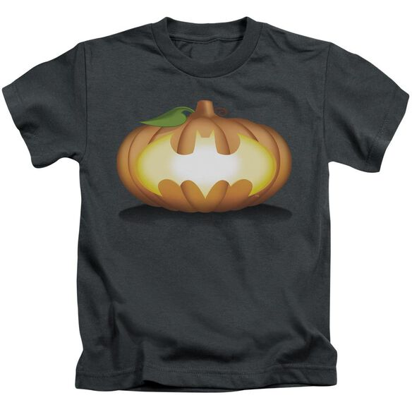 Batman Bat Pumpkin Logo Short Sleeve Juvenile Charcoal T-Shirt