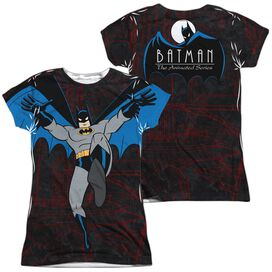 Batman The Animated Series Cave Leap (Front Back Print) Short Sleeve Junior Poly Crew T-Shirt
