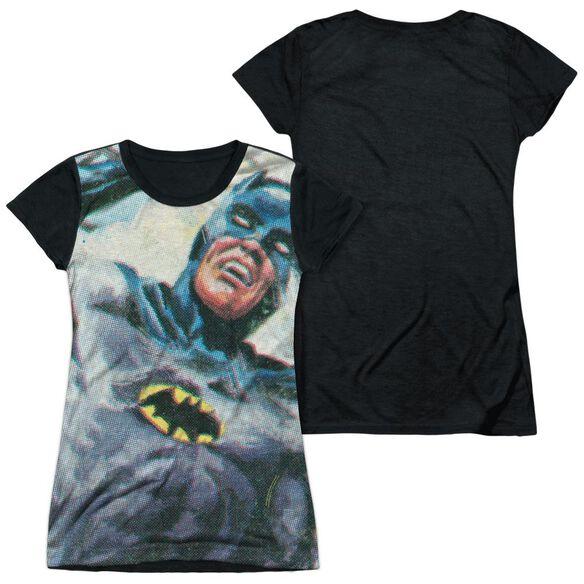 Batman Classic Tv Foliage Short Sleeve Junior Poly Black Back T-Shirt