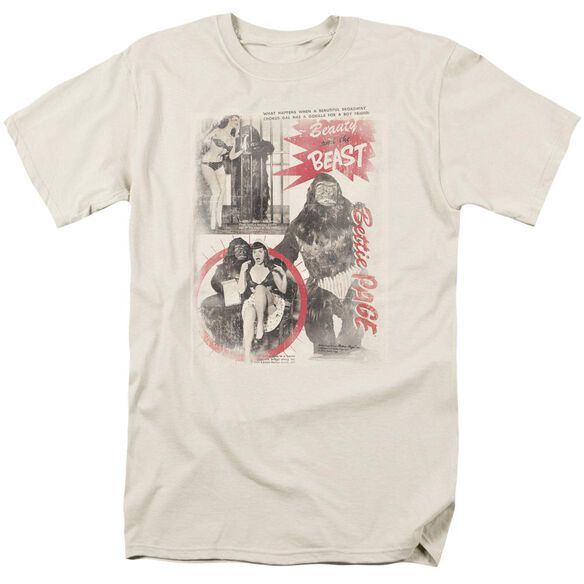 Bettie Page Beauty & The Beast Short Sleeve Adult Cream T-Shirt