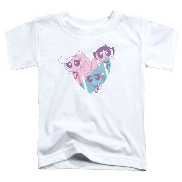 Powerpuff Girls Powerpuff Heart Short Sleeve Toddler Tee White T-Shirt