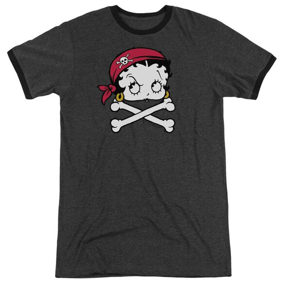 Betty Boop Pirate Adult Heather Ringer Charcoal