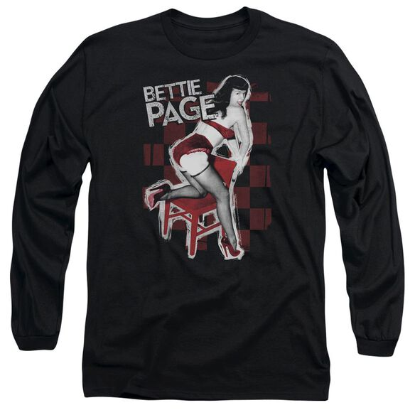 Bettie Page Over A Chair Long Sleeve Adult T-Shirt