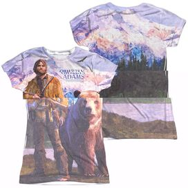 Grizzly Adams Man And Bear (Front Back Print) Short Sleeve Junior Poly Crew T-Shirt