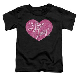 I Love Lucy Floral Logo Short Sleeve Toddler Tee Black T-Shirt
