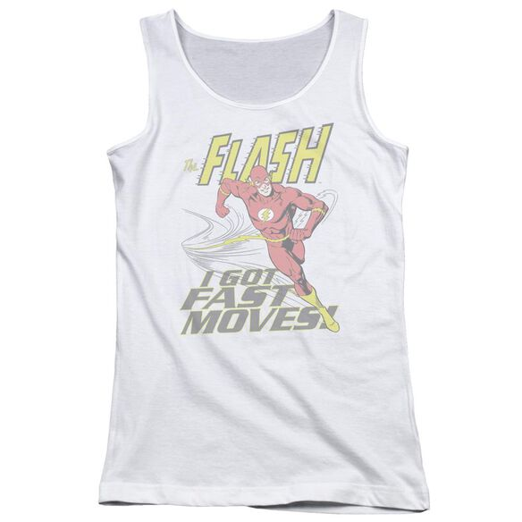 Dc Flash Fast Moves - Juniors Tank Top - White