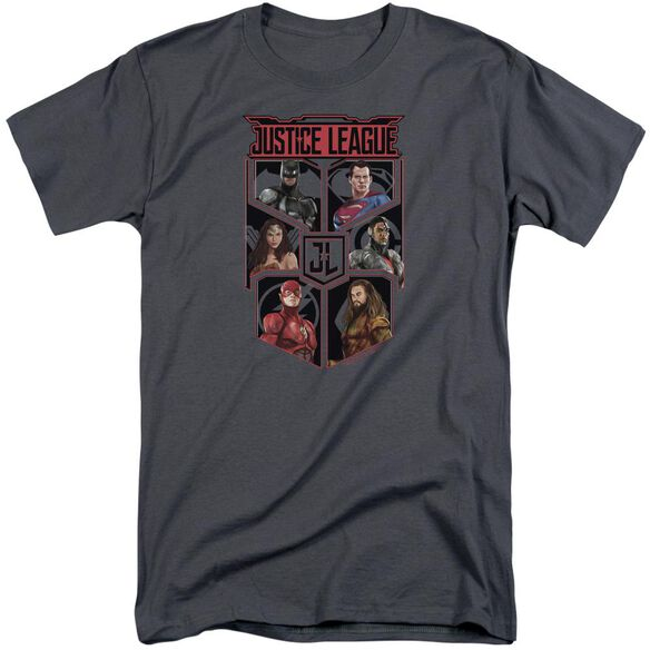 Justice League Movie League Of Six Short Sleeve Adult Tall T-Shirt - Gray 3X  Fye-2861