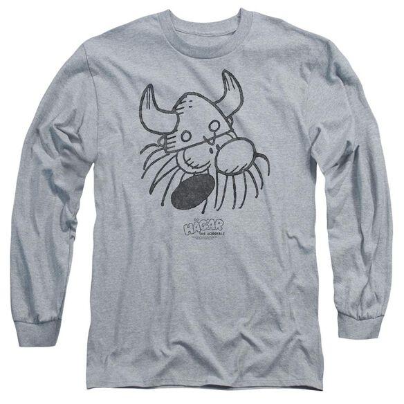 Hagar The Horrible Hagar Head Long Sleeve Adult Athletic T-Shirt