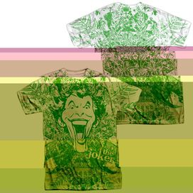 BATMAN JOKER IN THE WILD (FRONT/BACK PRINT) - S/S ADULT 100% POLY CREW - WHITE T-Shirt