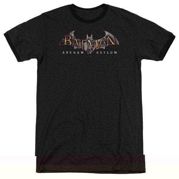 BATMAN AA ARKHAM ASYLUM LOGO - ADULT HEATHER RINGER - BLACK