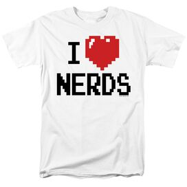 I HEART NERDS JUNIOR WHITE SHEER CAP SLEEVE TEE/SM - S/S ADULT 18/1 - WHITE T-Shirt