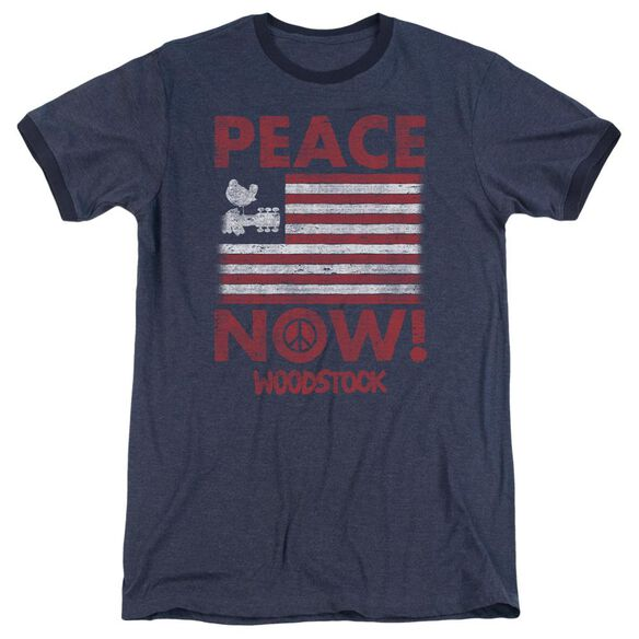 Woodstock Peace Now Adult Heather Ringer Navy