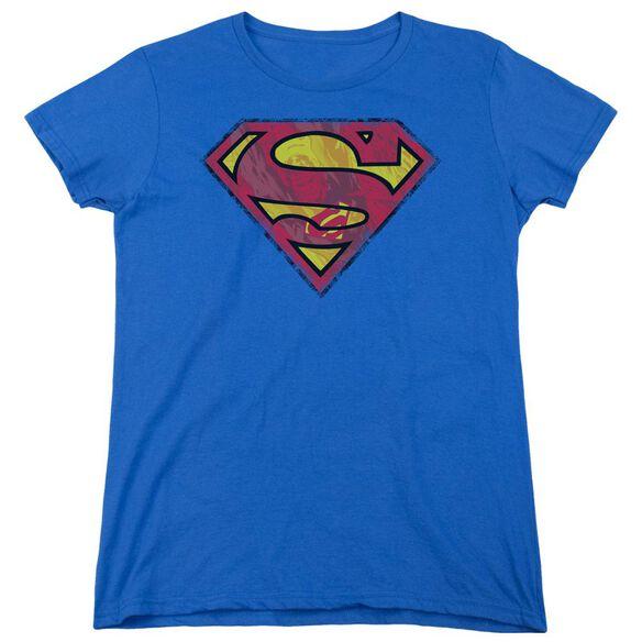 Superman Action Shield Short Sleeve Womens Tee Royal T-Shirt