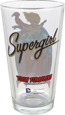 Supergirl Bombshell Toon Tumbler Pint Glass