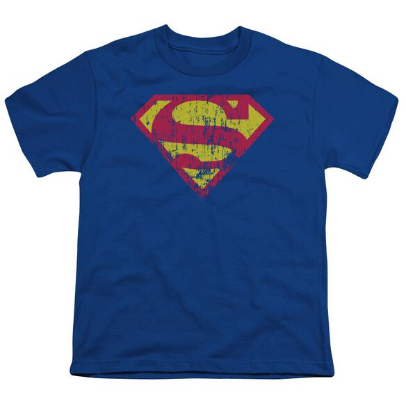 Superman Classic Logo Distressed Short Sleeve Youth Royal T-Shirt