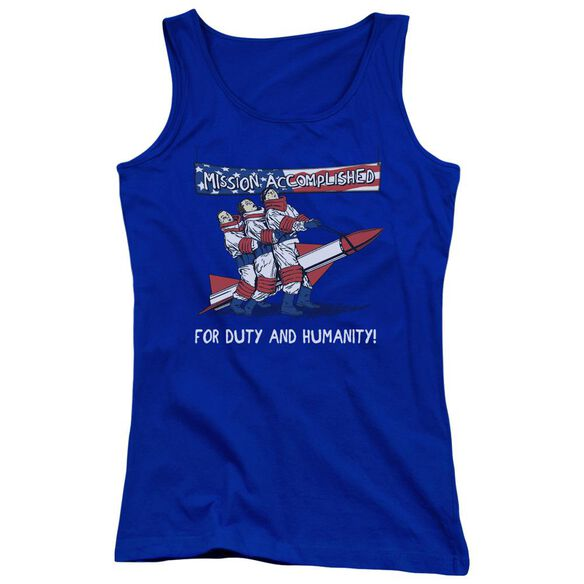 Three Stooges Mission Accomplished Juniors Tank Top Royal