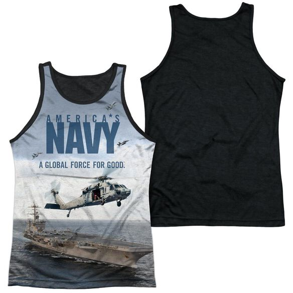 Navy Over And Under Adult Poly Tank Top Black Back