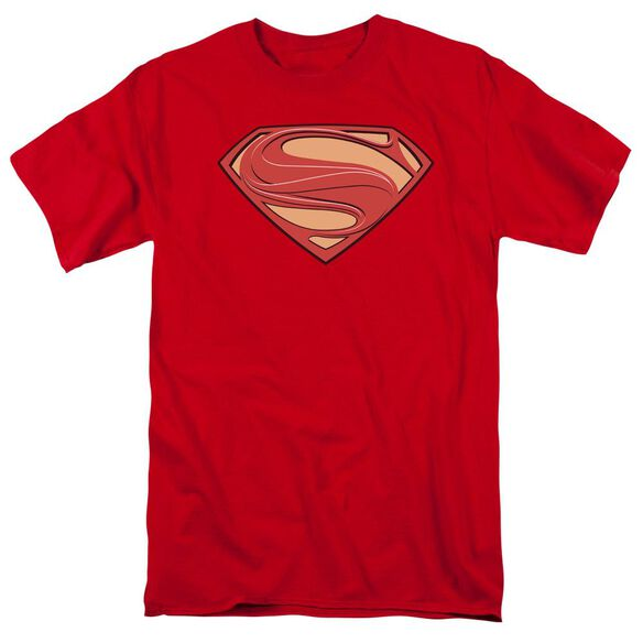 Man Of Steel New Solid Shield Short Sleeve Adult Red T-Shirt