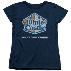WHITE CASTLE DISTRESSED LOGO - S/S WOMENS TEE - NAVY T-Shirt