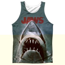 Jaws Poster - Adult 100% Poly Tank Top - White