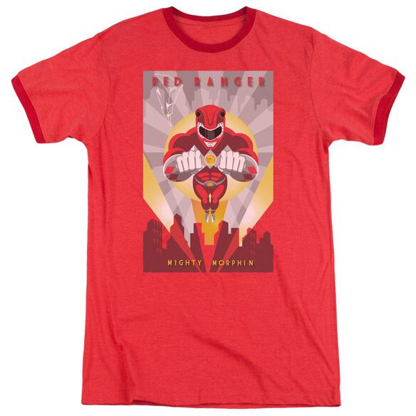 Power Rangers Red Deco Adult Heather Ringer Red