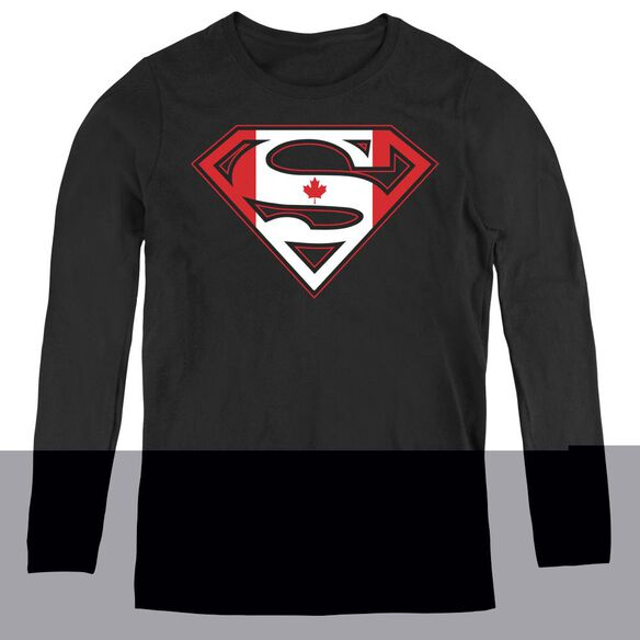 Superman Canadian Shield - Womens Long Sleeve Tee - Black