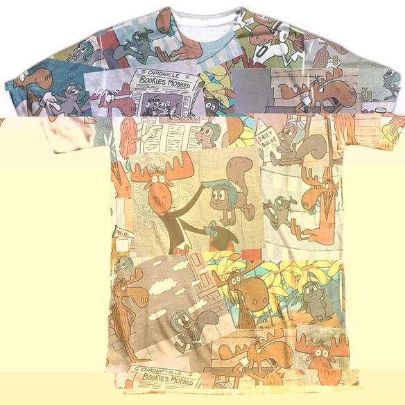 ROCKY & BULLWINKLE COLLAGE-S/S ADULT T-Shirt