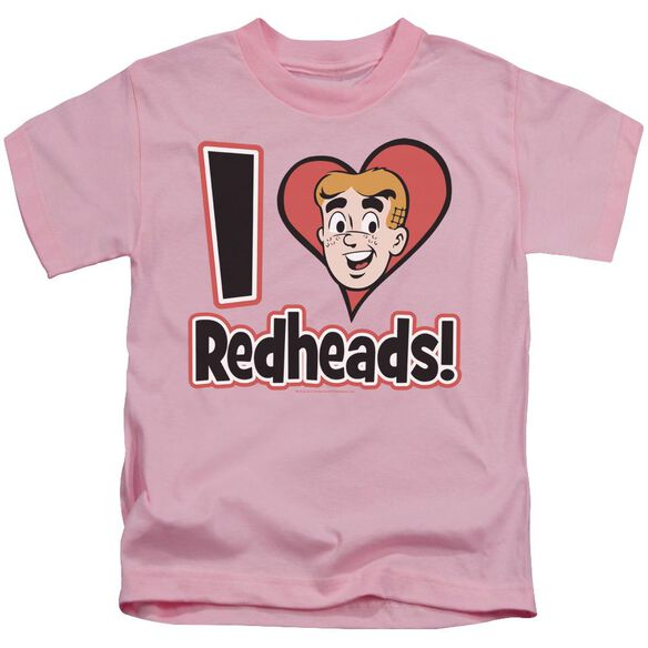 Archie Comics I Love Redheads Short Sleeve Juvenile Pink T-Shirt