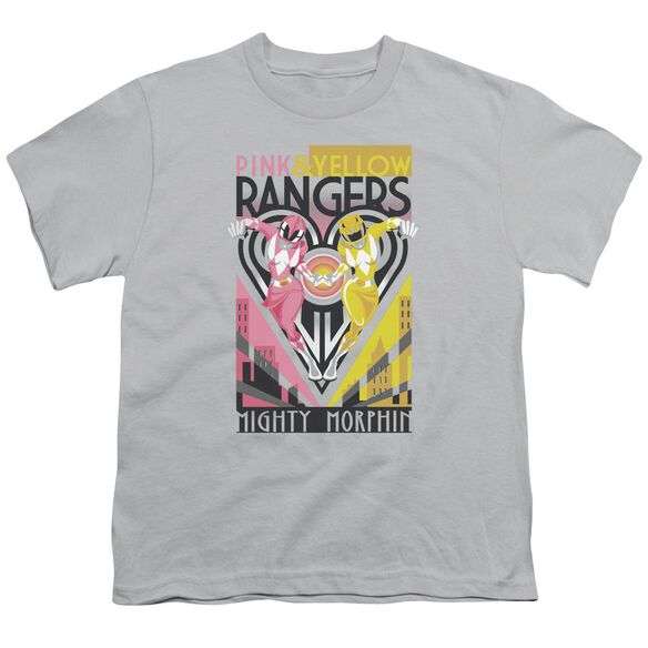 Power Rangers Pink & Yellow Deco Short Sleeve Youth T-Shirt