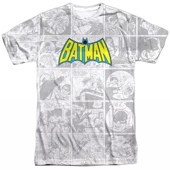 DC VINTAGE BAT STRIP - S/S ADULT 100% POLY CREW - WHITE T-Shirt