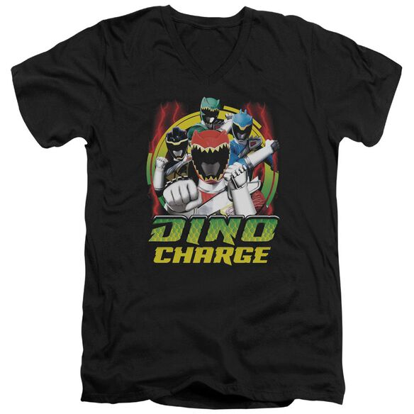 Power Rangers Dino Lightning Short Sleeve Adult V Neck T-Shirt