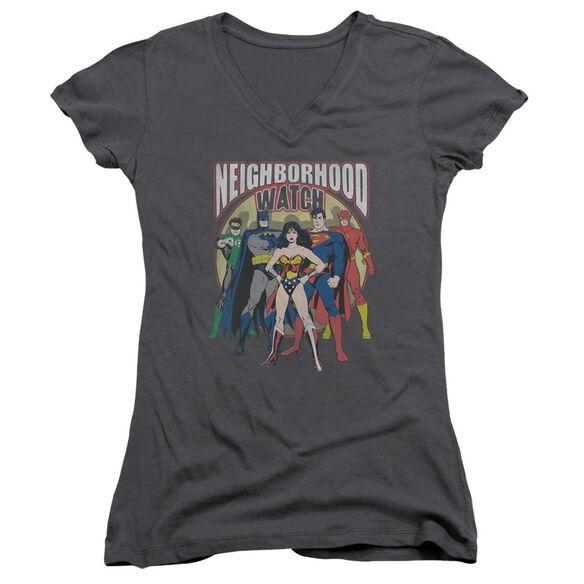 Jla Neighborhood Watch Junior V Neck T-Shirt