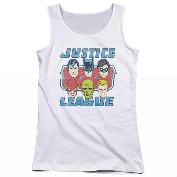 Dc Faces Of Justice - Juniors Tank Top - White