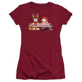 Garfield Christmas Banner Short Sleeve Junior Sheer T-Shirt