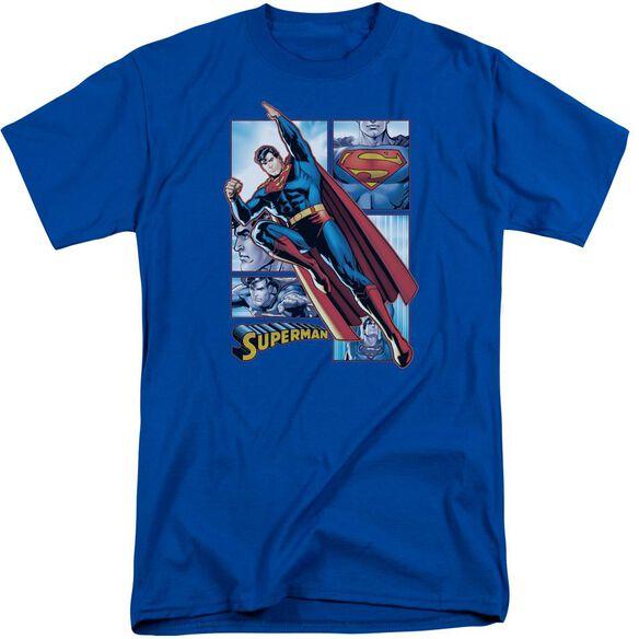 Jla Superman Panels Short Sleeve Adult Tall Royal T-Shirt