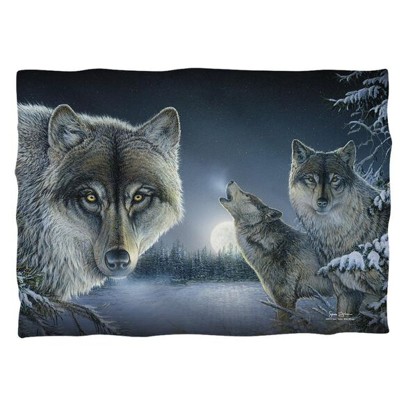 Wild Wings Midnight Wolves 2 Pillow Case White