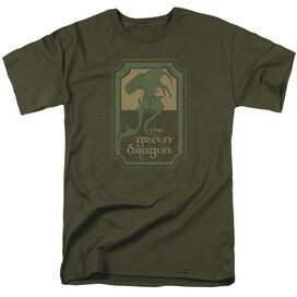 Lord Of The Rings Green Dragon Tavern Short Sleeve Adult Military Green T-Shirt