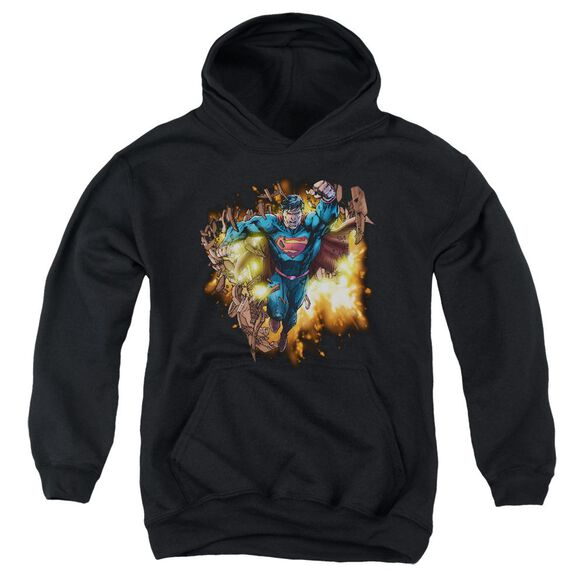 Superman Blasting Through Youth Pull Over Hoodie