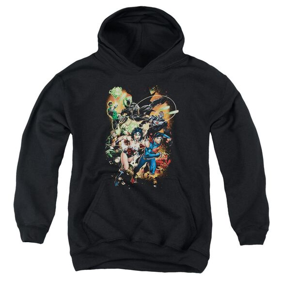 Jla Battle Ready Youth Pull Over Hoodie