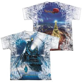 Polar Express Journey (Front Back Print) Short Sleeve Youth Poly Crew T-Shirt