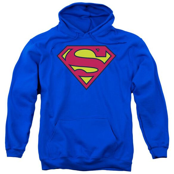 Superman Classic Logo Adult Pull Over Hoodie Royal