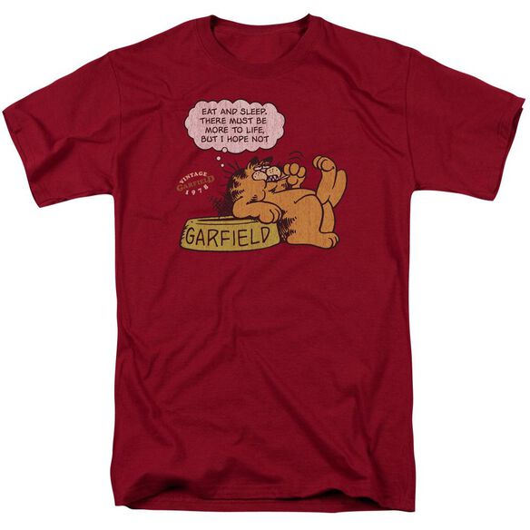 Garfield Eat And Sleep Short Sleeve Adult Cardinal T-Shirt