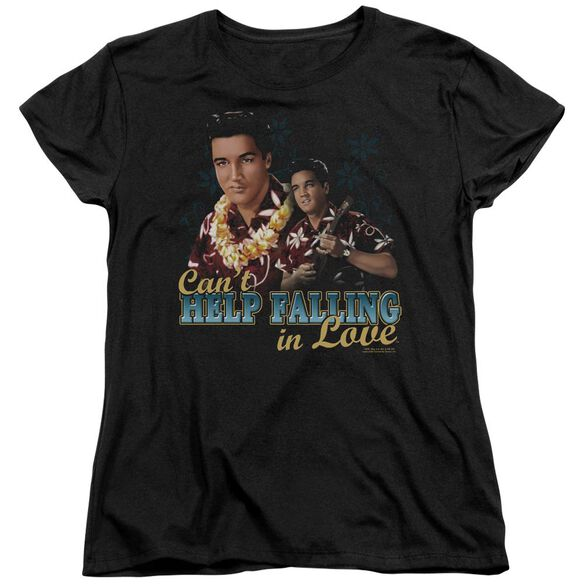 ELVIS PRESLEY CANT HELP FALLING - S/S WOMENS TEE - BLACK T-Shirt