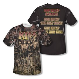 Kiss God Bless (Front Back Print) Short Sleeve Youth Poly Crew T-Shirt