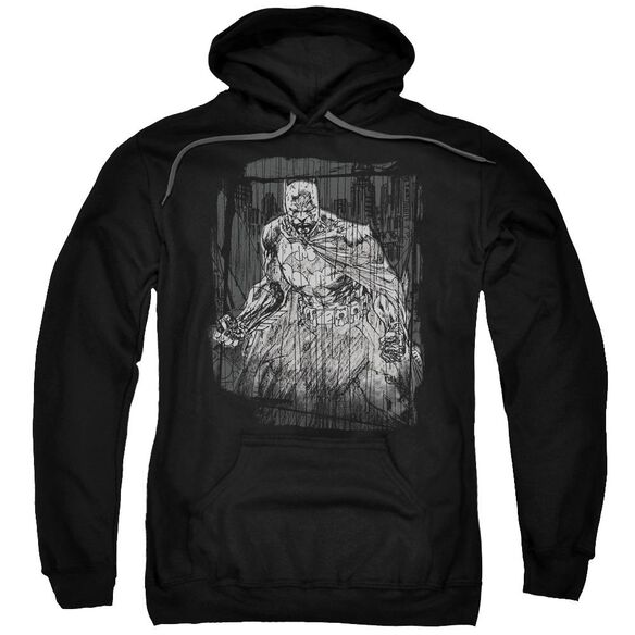 Batman Pencilled Rain Adult Pull Over Hoodie