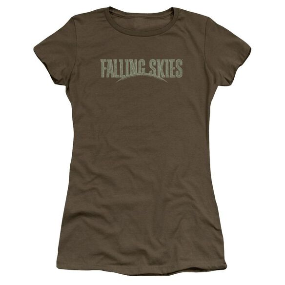 Falling Skies Distressed Logo Premium Bella Junior Sheer Jersey Military