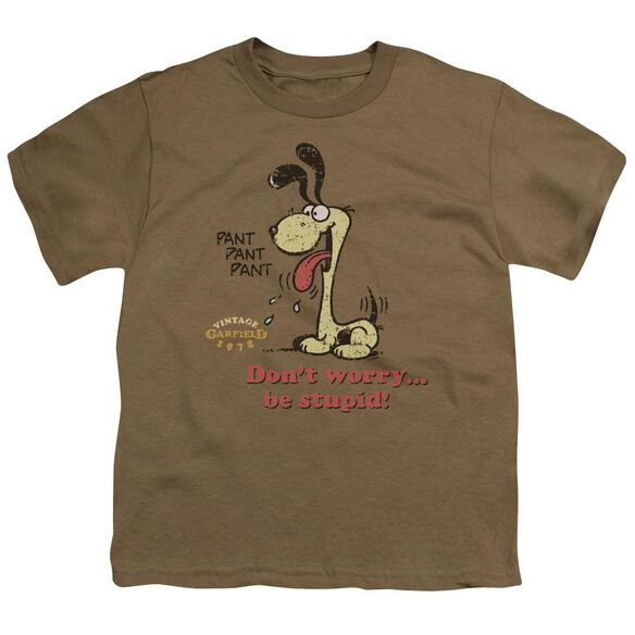 Garfield Don't Worry Be Stupid Short Sleeve Youth Safari T-Shirt