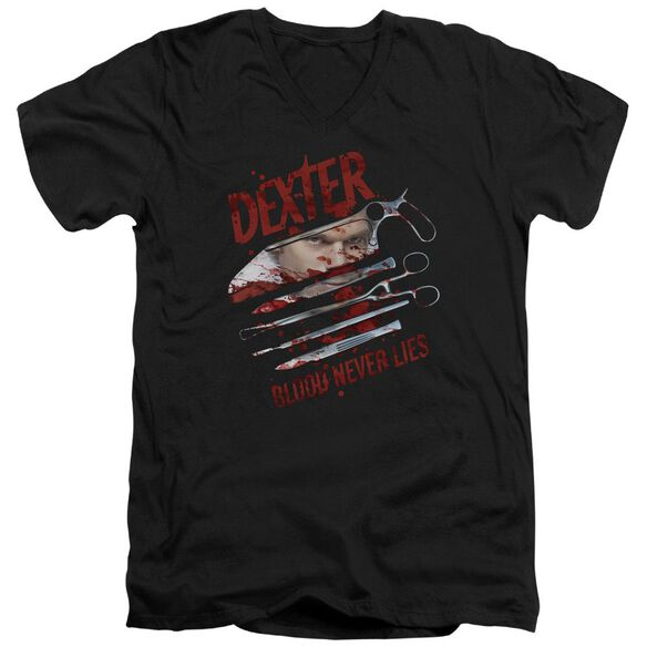 Dexter Blood Never Lies Short Sleeve Adult V Neck T-Shirt