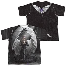Anne Stokes Prayer For The Fallen (Front Back Print) Short Sleeve Youth Poly Crew T-Shirt