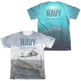 Navy Over And Under (Front Back Print) Adult Poly Cotton Short Sleeve Tee T-Shirt